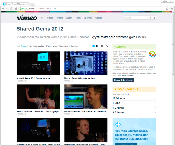 Shared Gems 2012 -seminaarin videoalbumi Vimeossa