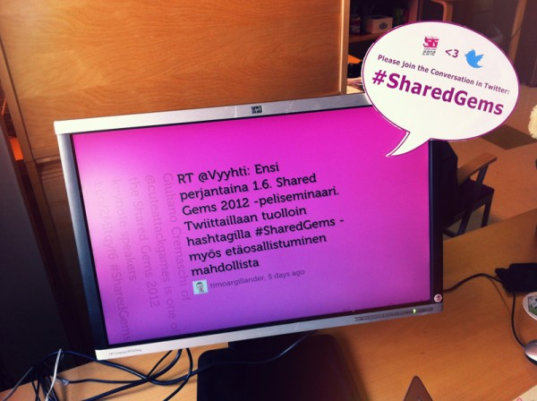 Twitter-taustakanavan rakentelua Shared Gems 2012 -seminaariin.