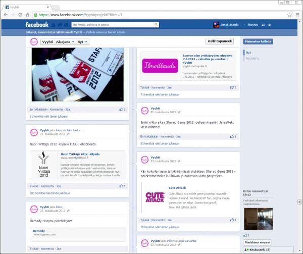 Vyyhti-projektin Facebook-sivu ennen Shared Gems 2012 -peliseminaaria.