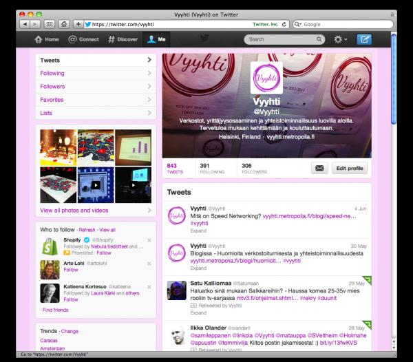 Vyyhti-Twitter-tili mukailee hankkeen visuaalista ilmettä.