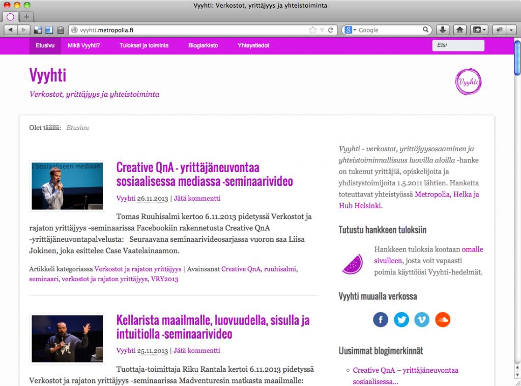 Vyyhti-webin etusivu 27.11.2013